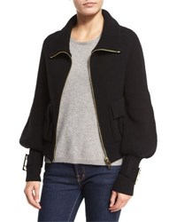 Knit Zip Front Bomber Sweater Black
