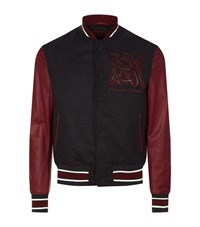 Alexander Mcqueen Embroidered Amq Varsity Bomber Jacket Male Black