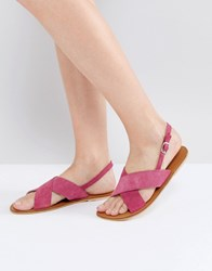 Warehouse Cross Front Slingback Sandal Hot Pink
