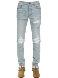 Amiri 15Cm Tapered Mx1 Denim Jeans W Leather Light Indigo
