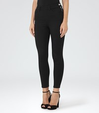 Reiss Hedy Black High Rise Cropped Jeans In Black Womens