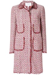 Giambattista Valli Tweed Single Breasted Coat Pink