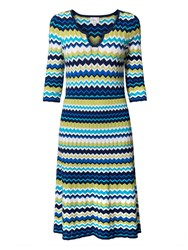 East Zig Zag Print Flared Dress Multi