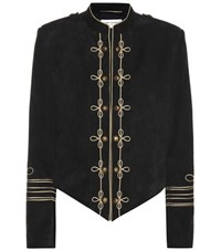 Saint Laurent Embellished Suede Jacket Black