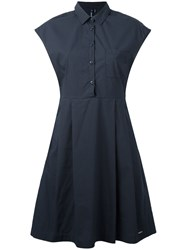 Woolrich Fitted Pleat Dress Blue