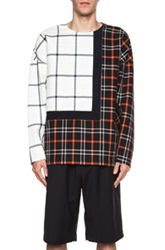 3.1 Phillip Lim Framed Seam Cotton Pullover In Checkered And Plaid Black Red White