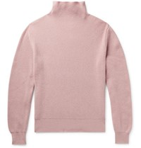 The Row Daniel Ribbed Cashmere Mock Neck Sweater Pink