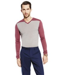 Vince Camuto Wool V Neck Sweater Grey