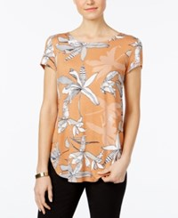 Alfani Printed Shirttail T Shirt Only At Macy's Sand Exotic Bloom