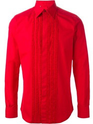 Dolce And Gabbana Ruffle Detail Shirt Red