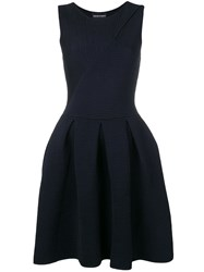 Emporio Armani Short Ribbed Dress Blue
