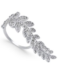 Inc International Concepts Silver Tone Pave Elongated Leaf Ring Only At Macy's