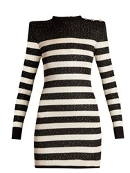 Balmain Striped Knit Micro Sequin Mini Dress Black White