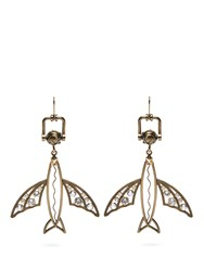 Valentino Flying Fish Drop Earrings Gold