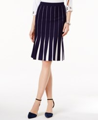 Grace Elements Pleated Sweater Skirt Evening Blue Bright White