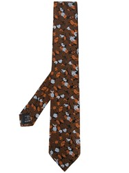 Z Zegna Leaf Jacquard Tie Brown