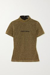 House Of Holland Embroidered Metallic Knitted T Shirt Gold