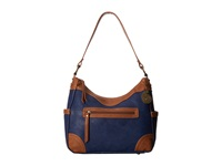 American West Guns And Roses Large Shoulder Bag Navy Blue Tan Shoulder Handbags