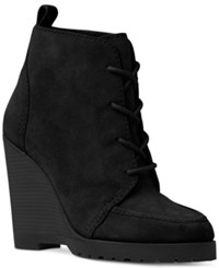 Michael Kors Piper Lace Wedge Booties Women's Shoes Black