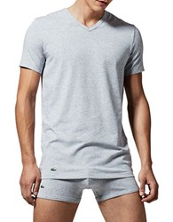 Lacoste Two Pack Slim Fit V Neck Tee Grey