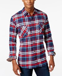 Weatherproof Vintage Men's Big And Tall Plaid Flannel Shirt Red