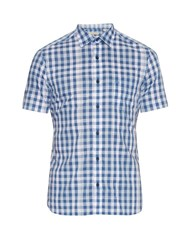 Burberry Short Sleeved Checked Cotton Shirt Blue Multi