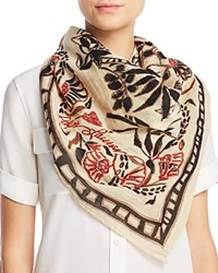 Polo Ralph Lauren Rustic Etched Floral Square Scarf Tan Black