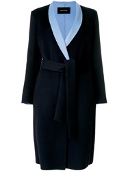 Cedric Charlier Contrast Lapel Tailored Coat Polyamide Polyester Viscose Wool Blue