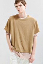 Urban Outfitters Uo Boxy Double Layer Tee Tan