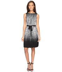 Adrianna Papell Printed Miami Mesh Fit And Flare Dress With Full Pleated Skirt Black Ivory Women's Dress