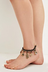 Forever 21 Etched Charm Anklet Gold Black