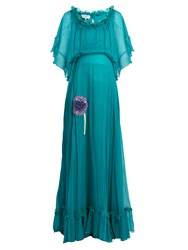 Luisa Beccaria Bead Embellished Silk Georgette Dress Green