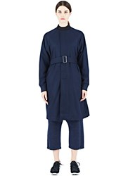 Y 3 Mid Length Wool Coat Navy