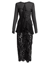 Proenza Schouler Ruffle Front Lace Dress Black