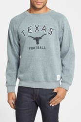 Original Retro Brand 'Texas Longhorns Football' Slim Fit Raglan Crewneck Sweatshirt Gray