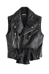 Dsquared2 Leather Biker Vest With Ruffle Hem Black