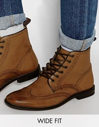 Asos Wide Fit Boots In Tan Leather Tan