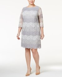 Jessica Howard Plus Size Striped Lace Sheath Dress Grey