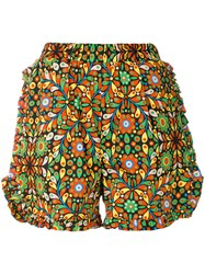 La Doublej Ruched Ruffle Shorts Cotton Nylon Xs Yellow Orange