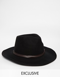 Reclaimed Vintage Wool Fedora With Leather Detail 0