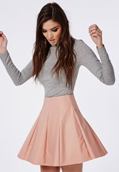 Missguided Faux Leather Flippy Skater Skirt Dusky Pink