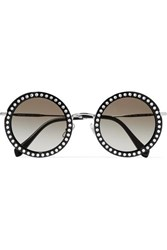 Miu Miu Crystal Embellished Round Frame Acetate And Silver Tone Sunglasses Black