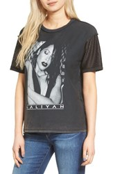 Topshop Women's By And Finally Mesh Sleeve Aaliyah Tee Black