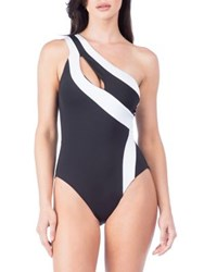Kenneth Cole Reaction One Shoulder One Piece Swimsuit Black