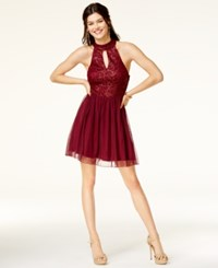 Speechless Juniors' Glitter Lace Mock Neck Fit And Flare Dress Burgundy Gold