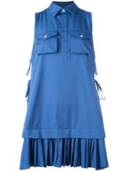 Dsquared2 Pleated Shirt Mini Dress Blue