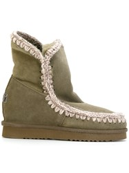 Mou Concealed Heel Eskimo Boots Leather Sheep Skin Shearling Rubber Green