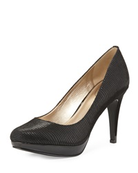 Circa Joan And David Pearly Lizard Embossed Patent Leather Pump Black