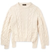 Burberry Runway Oversized Cable Knit Cotton Blend Sweater Cream