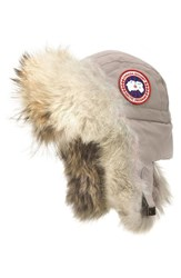 Canada Goose Women's Down Fill Aviator Hat With Genuine Coyote Fur Trim Limestone